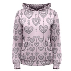 Sketches Ornamental Hearts Pattern Women s Pullover Hoodie by TastefulDesigns
