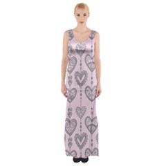 Sketches Ornamental Hearts Pattern Maxi Thigh Split Dress by TastefulDesigns
