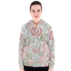 Retro Elegant Floral Pattern Women s Zipper Hoodie by TastefulDesigns