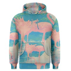Two Pink Flamingos Pop Art Men s Pullover Hoodie by WaltCurleeArt