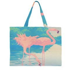 Two Pink Flamingos Pop Art Zipper Large Tote Bag by WaltCurleeArt