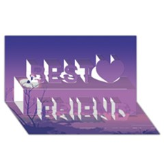 Abstract Tropical Birds Purple Sunset  Best Friends 3d Greeting Card (8x4)  by WaltCurleeArt