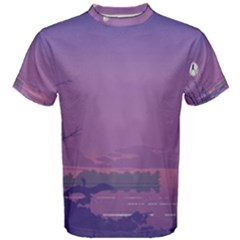 Abstract Tropical Birds Purple Sunset  Men s Cotton Tee by WaltCurleeArt