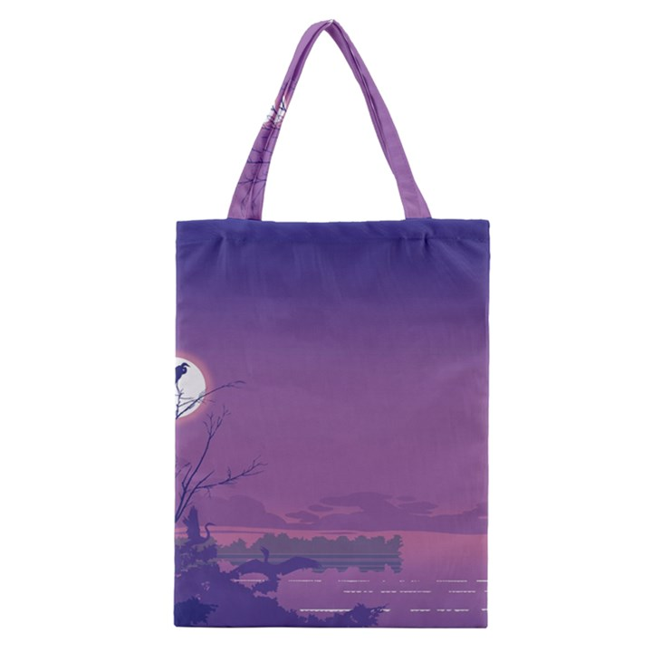 Abstract Tropical Birds Purple Sunset  Classic Tote Bag