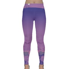 Abstract Tropical Birds Purple Sunset  Yoga Leggings by WaltCurleeArt