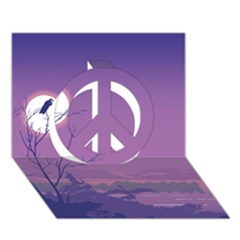 Abstract Tropical Birds Purple Sunset Peace Sign 3d Greeting Card (7x5)  by WaltCurleeArt
