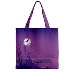 Abstract Tropical Birds Purple Sunset Grocery Tote Bag by WaltCurleeArt
