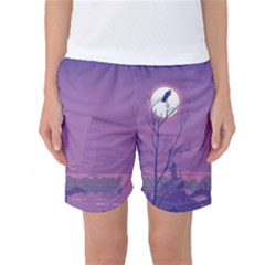 Abstract Tropical Birds Purple Sunset Women s Basketball Shorts by WaltCurleeArt