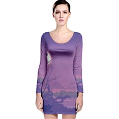 Abstract Tropical Birds Purple Sunset Long Sleeve Velvet Bodycon Dress by WaltCurleeArt