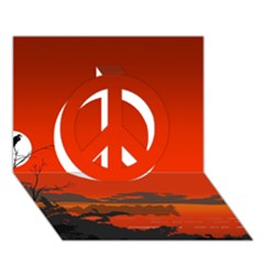 Tropical Birds Orange Sunset Landscape Peace Sign 3d Greeting Card (7x5)
