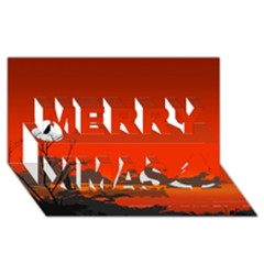 Tropical Birds Orange Sunset Landscape Merry Xmas 3d Greeting Card (8x4)  by WaltCurleeArt