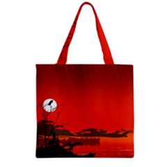 Tropical Birds Orange Sunset Landscape Grocery Tote Bag by WaltCurleeArt