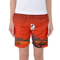 Tropical Birds Orange Sunset Landscape Women s Basketball Shorts by WaltCurleeArt