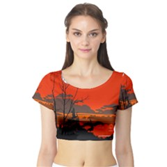 Tropical Birds Orange Sunset Landscape Short Sleeve Crop Top (tight Fit) by WaltCurleeArt