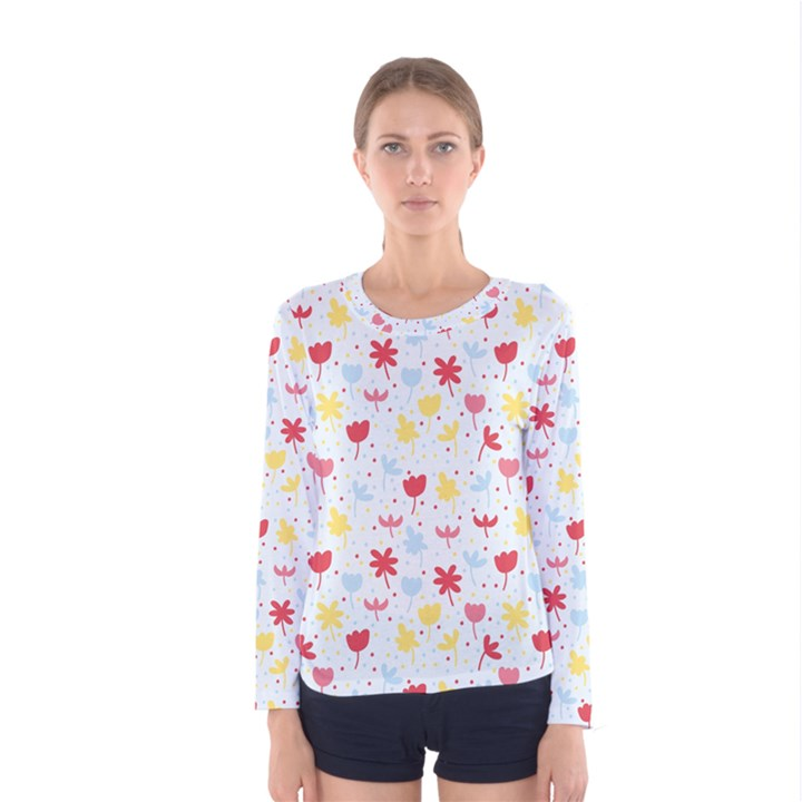 Seamless Colorful Flowers Pattern Women s Long Sleeve Tee