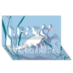 Egret Best Wish 3d Greeting Card (8x4)  by WaltCurleeArt