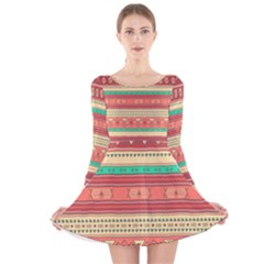 Hand Drawn Ethnic Shapes Pattern Long Sleeve Velvet Skater Dress by TastefulDesigns