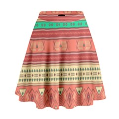 Hand Drawn Ethnic Shapes Pattern High Waist Skirt