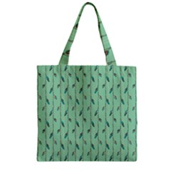 Seamless Lines And Feathers Pattern Zipper Grocery Tote Bag by TastefulDesigns