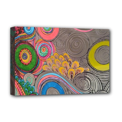 Rainbow Passion Deluxe Canvas 18  X 12   by SugaPlumsEmporium