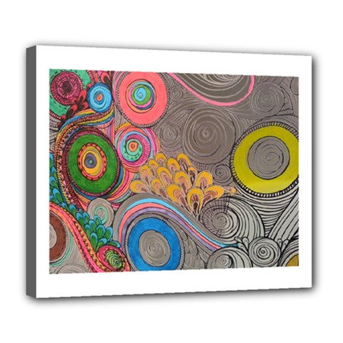 Rainbow Passion Deluxe Canvas 24  X 20   by SugaPlumsEmporium
