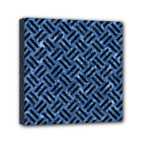 Woven2 Black Marble & Blue Marble (r) Mini Canvas 6  X 6  (stretched)