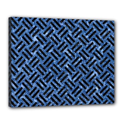 Woven2 Black Marble & Blue Marble (r) Canvas 20  X 16  (stretched) by trendistuff