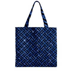 Woven2 Black Marble & Blue Marble (r) Zipper Grocery Tote Bag by trendistuff