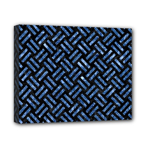 Woven2 Black Marble & Blue Marble Canvas 10  X 8  (stretched) by trendistuff