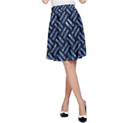 Woven2 Black Marble & Blue Marble A Line Skirt by trendistuff