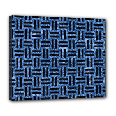 Woven1 Black Marble & Blue Marble (r) Deluxe Canvas 24  X 20  (stretched) by trendistuff