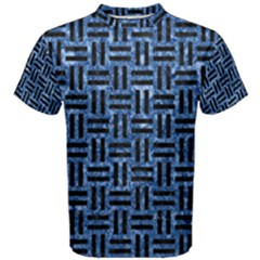 Woven1 Black Marble & Blue Marble (r) Men s Cotton Tee by trendistuff