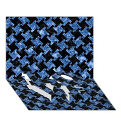 Houndstooth2 Black Marble & Blue Marble Love Bottom 3d Greeting Card (7x5) by trendistuff