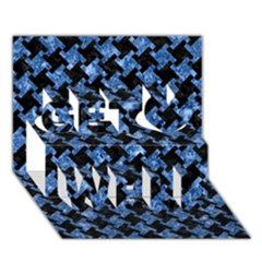 Houndstooth2 Black Marble & Blue Marble Get Well 3d Greeting Card (7x5) by trendistuff