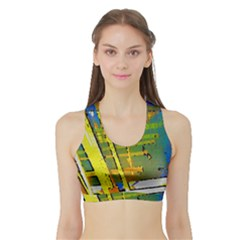 Pretty In Yellow Women s Sports Bra With Border