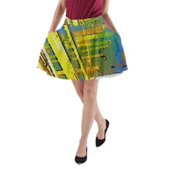 Pretty In Yelllow A Line Pocket Skirt by SugaPlumsEmporium