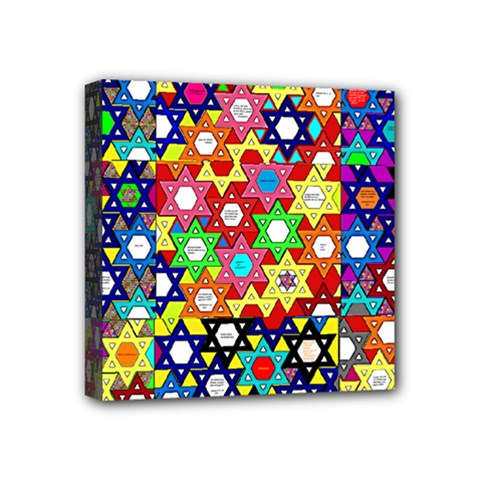 Star Of David Mini Canvas 4  X 4  by SugaPlumsEmporium