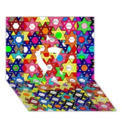 Star Of David Ribbon 3d Greeting Card (7x5)  by SugaPlumsEmporium