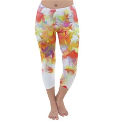 Hawaiian Flair Capri Winter Leggings  by SugaPlumsEmporium