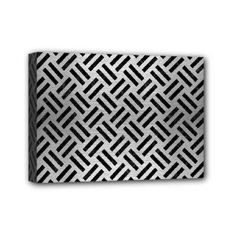 Woven2 Black Marble & Silver Brushed Metal (r) Mini Canvas 7  X 5  (stretched) by trendistuff