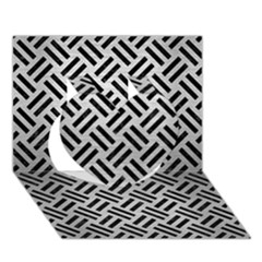 Woven2 Black Marble & Silver Brushed Metal (r) Heart 3d Greeting Card (7x5) by trendistuff
