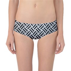 Woven2 Black Marble & Silver Brushed Metal (r) Classic Bikini Bottoms by trendistuff