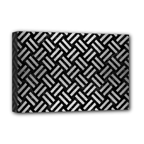 Woven2 Black Marble & Silver Brushed Metal Deluxe Canvas 18  X 12  (stretched) by trendistuff