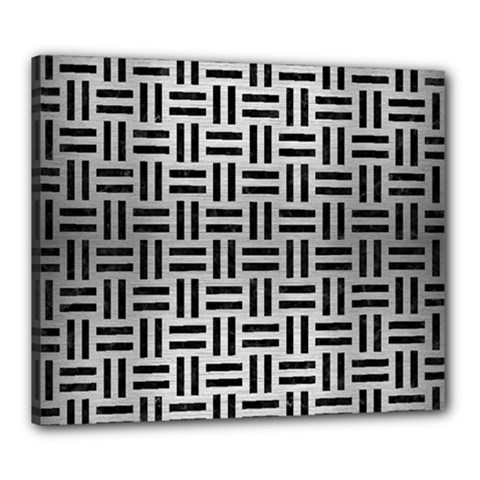 Woven1 Black Marble & Silver Brushed Metal (r) Canvas 24  X 20  (stretched) by trendistuff