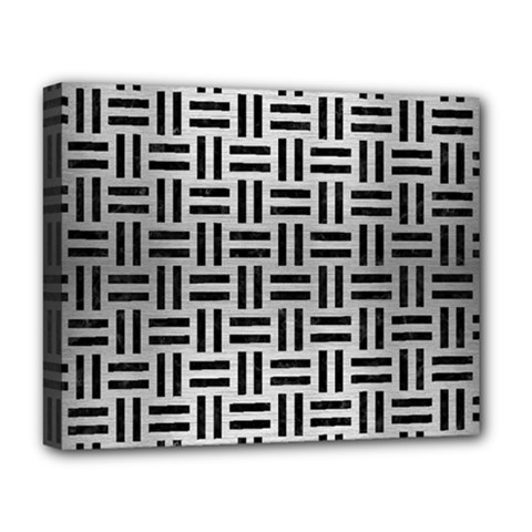 Woven1 Black Marble & Silver Brushed Metal (r) Deluxe Canvas 20  X 16  (stretched) by trendistuff