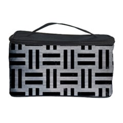 Woven1 Black Marble & Silver Brushed Metal (r) Cosmetic Storage Case by trendistuff