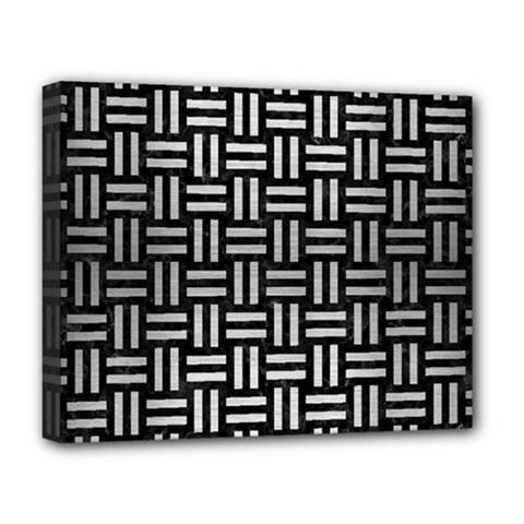 Woven1 Black Marble & Silver Brushed Metal Deluxe Canvas 20  X 16  (stretched) by trendistuff