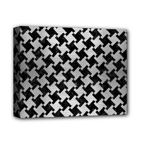 Houndstooth2 Black Marble & Silver Brushed Metal Deluxe Canvas 14  X 11  (stretched) by trendistuff