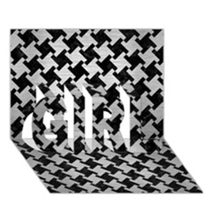 Houndstooth2 Black Marble & Silver Brushed Metal Girl 3d Greeting Card (7x5) by trendistuff