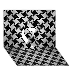 Houndstooth2 Black Marble & Silver Brushed Metal Ribbon 3d Greeting Card (7x5) by trendistuff